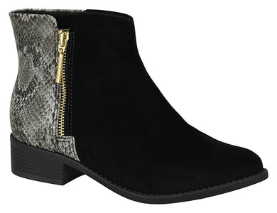 Women Fashion Comfortable Ankle Boot in Low Heel Cobra Black Beira Rio 7057.112