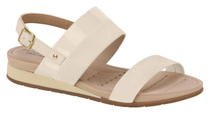 Beira Rio 7113.103-1305 Women Flat Platform Wedge Fashion Summer Comfort Sandal in White