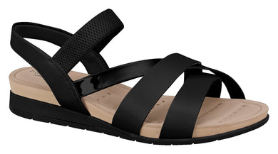 Beira Rio 7113.104-1257 Women Flat Platform Wedge Fashion Summer Comfort Sandal in Black