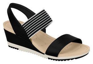 Modare 7123.107 Women Wedge Fashion Sandal Travel Casual Shoe in Multi Black