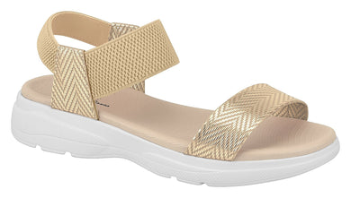 Beira Rio 7124.102-1312 Women Flat Platform Wedge Fashion Summer Comfort Sandal in Gold
