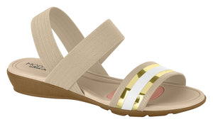 Modare 7127.214 Women Comfortable Flat Sandal in Beige White Gold