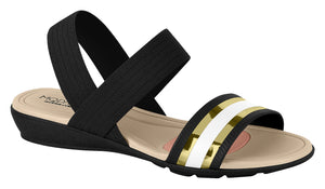 Modare 7127.214 Women Comfortable Flat Sandal in Black Gold