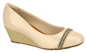 Beira Rio 7324.104-1213 Women Fashion Wedge Round Toe Shoe Comfort Business in Beige Natural
