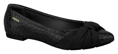 ModareUltraconfort 7334.111 Classic Pointy Toe Flat Moccassin in Croco Black With a Bow