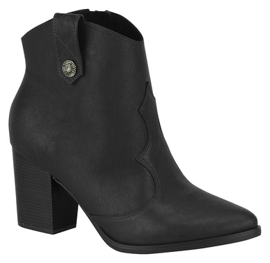 Beira Rio 9042.419 Women Fashion Western Country Style Ankle Boot Mid Heel in Black