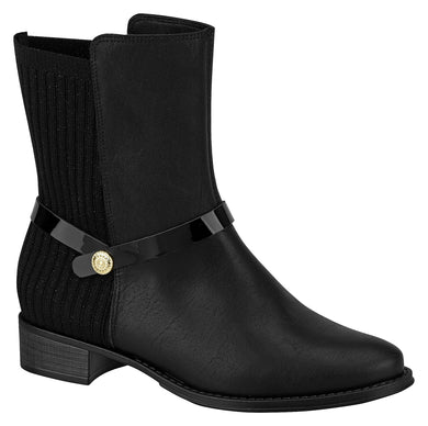 Women Knit Sock Boot in Low Heel Black Beira Rio 9045.124