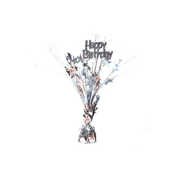 Centrepiece Happy Birthday Silver with Stars & Sprays 6cm Wide x 30cm High - Approx 138g - Each
