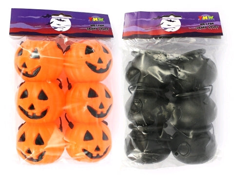 Pumpkin OR Cauldron Treat Pails Candy Holders 6cm Plastic - Pack of 6