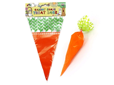 Loot Bags Cello Easter Carrots Shaped & Twist Ties 27cm - Pack of 15