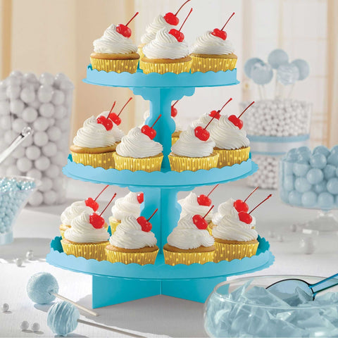 3 Tier Cupcake Treat Stand Caribbean Blue