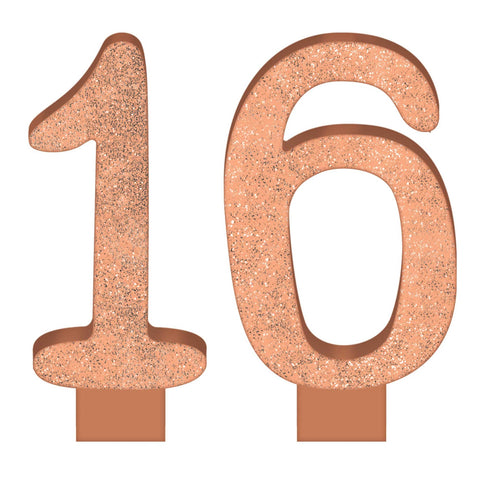 Elegant Sixteen Blush Numeral 16 Glittered Candles