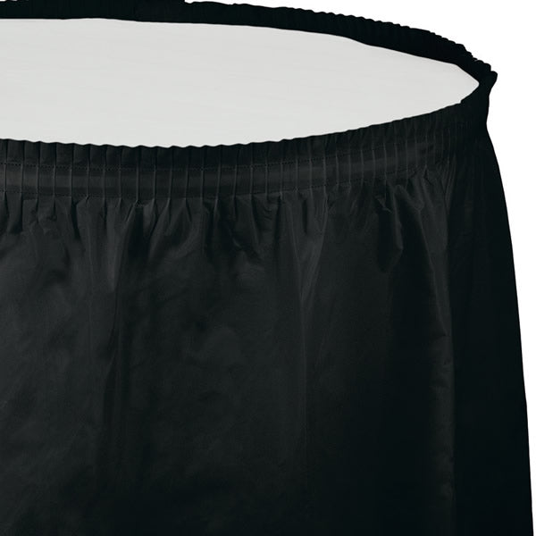 Black Velvet Table Skirt Plastic 74cm x 4.26m with Adhesive Backing Strip - Each