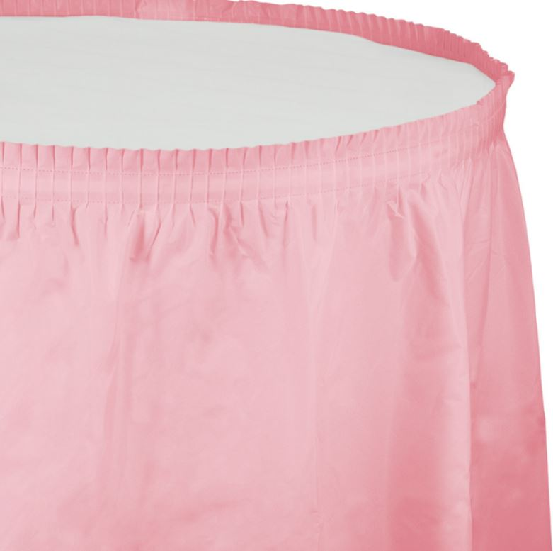 Classic Pink Table Skirt Plastic 74cm x 4.26m with Adhesive Backing Strip - Each