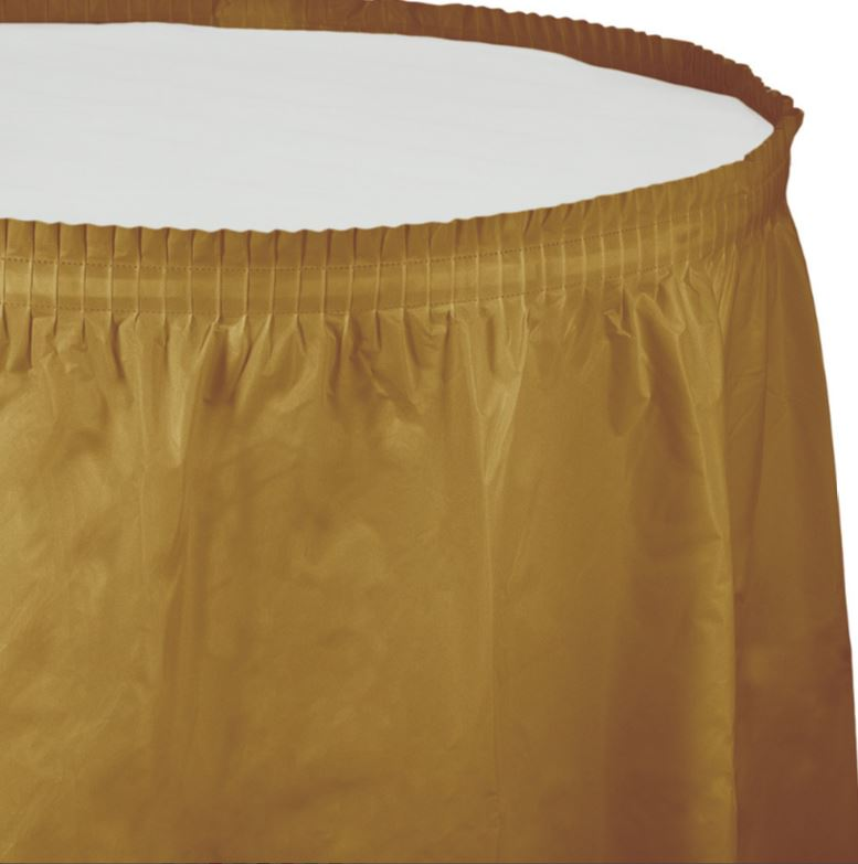 Glittering Gold Table Skirt Plastic 74cm x 4.26m with Adhesive Backing Strip - Each