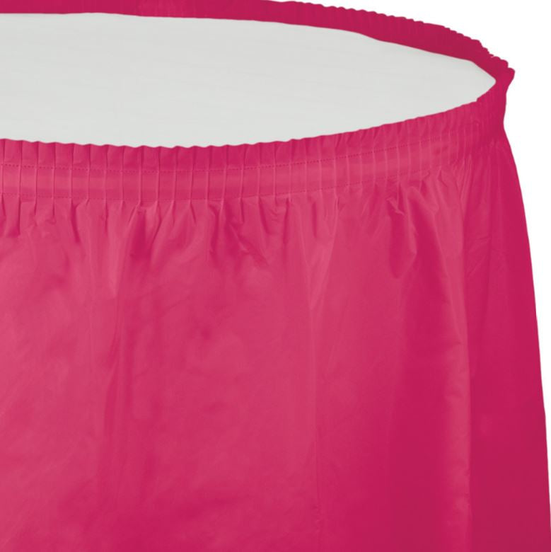 Hot Magenta Table Skirt Plastic 74cm x 4.26m with Adhesive Backing Strip - Each