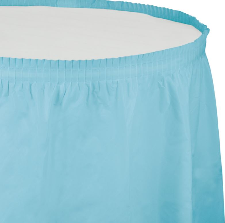Pastel Blue Table Skirt Plastic 74cm x 4.26m with Adhesive Backing Strip - Each
