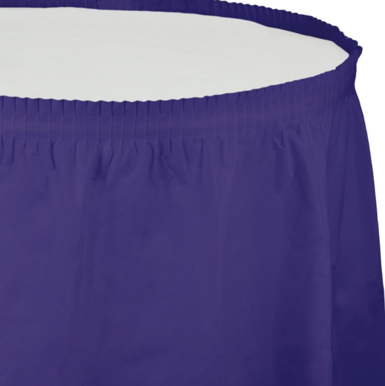 Purple Table Skirt Plastic 74cm x 4.26m with Adhesive Backing Strip - Each