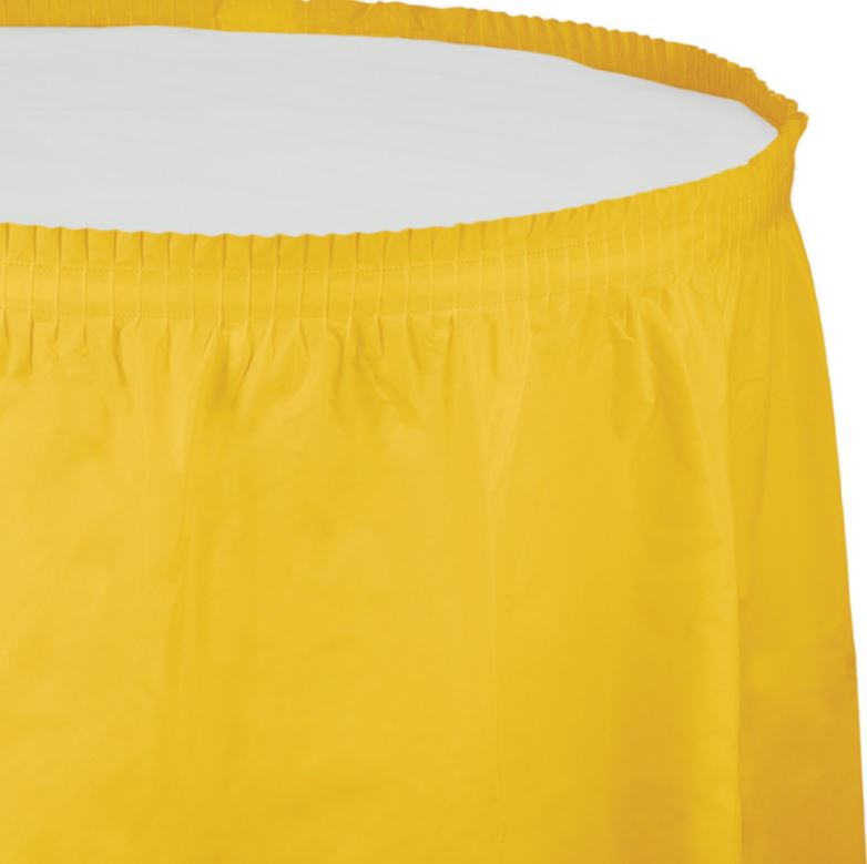 School Bus Yellow Table Skirt Plastic 74cm x 4.26m with Adhesive Backing Strip - Each