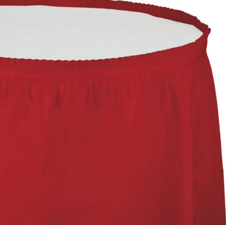 Classic Red Table Skirt Plastic 74cm x 4.26m with Adhesive Backing Strip - Each
