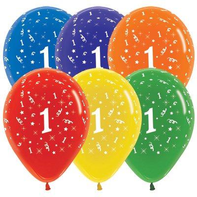 Sempertex 30cm Age 1 Crystal Assorted Latex Balloons, 25PK