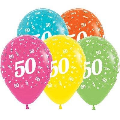 Sempertex 30cm Age 50 Tropical Assorted Latex Balloons, 25PK