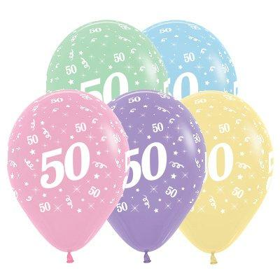 Sempertex 30cm Age 50 Pastel Assorted Latex Balloons, 25PK