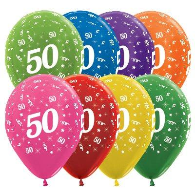 Sempertex 30cm Age 50 Metallic Assorted Latex Balloons, 25PK