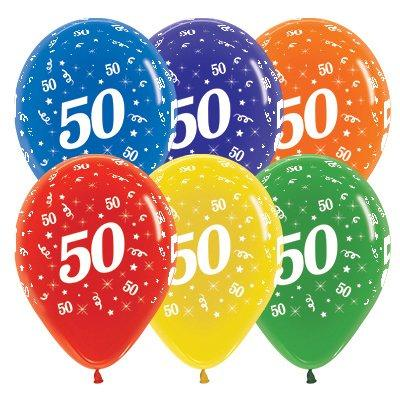 Sempertex 30cm Age 50 Crystal Assorted Latex Balloons, 25PK