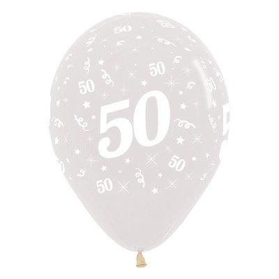 Sempertex 30cm Age 50 Crystal Clear Latex Balloons, 25PK