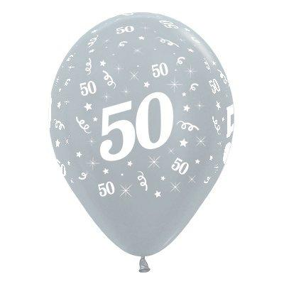 50th Birthday 30cm Metallic Latex Silver Balloons 25