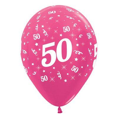 Sempertex 30cm Age 50 Metallic Fuchsia Latex Balloons, 25PK