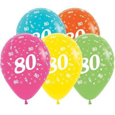 Sempertex 30cm Age 80 Tropical Assorted Latex Balloons, 25PK