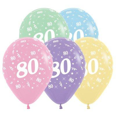 Sempertex 30cm Age 80 Pastel Assorted Latex Balloons, 25PK