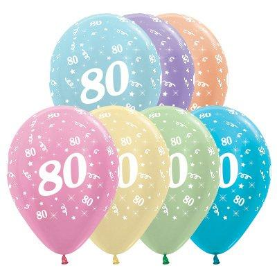 Sempertex 30cm Age 80 Satin Pearl Assorted Latex Balloons, 25PK