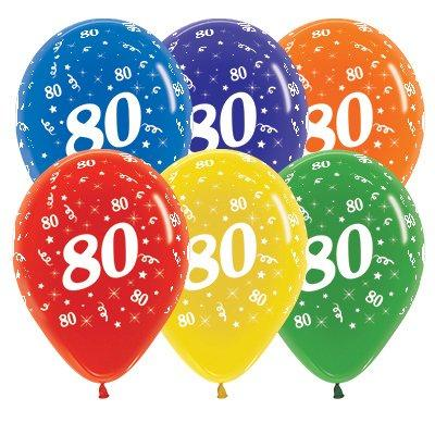 Sempertex 30cm Age 80 Crystal Assorted Latex Balloons, 25PK