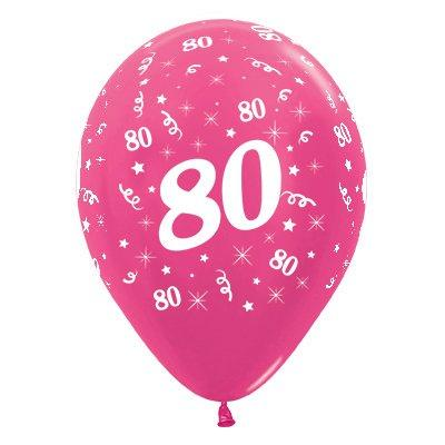 Sempertex 30cm Age 80 Metallic Fuchsia Latex Balloons, 25PK
