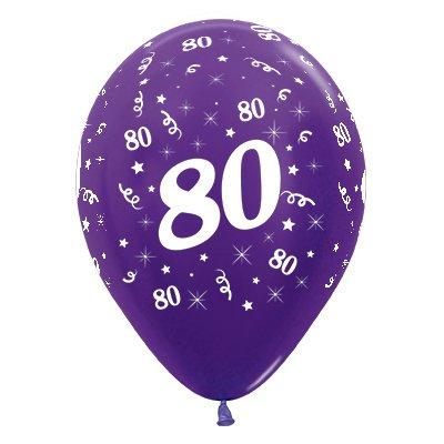 Sempertex 30cm Age 80 Metallic Purple Violet Latex Balloons, 25PK