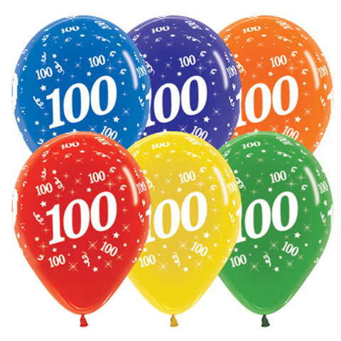 Sempertex 30cm Age 100 Crystal Assorted Latex Balloons, 25PK