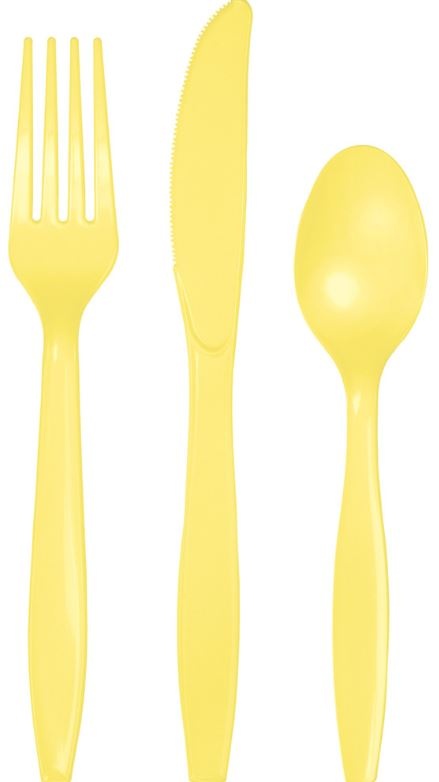 Mimosa Yellow Cutlery Set Plastic Knives, Forks & Spoons - Pack of 24