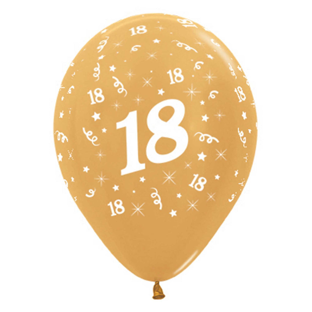 Age 18 Birthday Gold Metallic latex Balloons 6