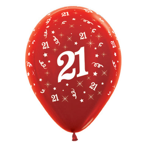 Sempertex 30cm Age 21 Metallic Red Latex Balloons, 6PK