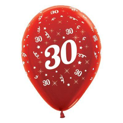 Sempertex 30cm Age 30 Metallic Red Latex Balloons, 6PK