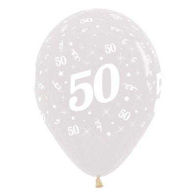 Sempertex 30cm Age 50 Crystal Clear Latex Balloons, 6PK