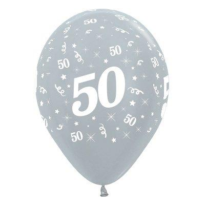 50th Birthday 30cm Metallic Latex Silver Balloons 6