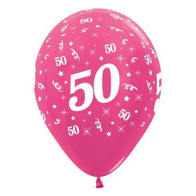 Sempertex 30cm Age 50 Metallic Fuchsia Latex Balloons, 6PK