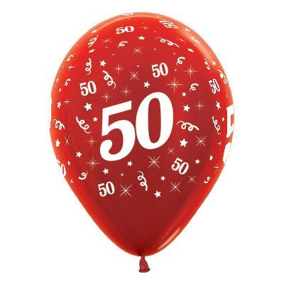 Sempertex 30cm Age 50 Metallic Red Latex Balloons, 6PK