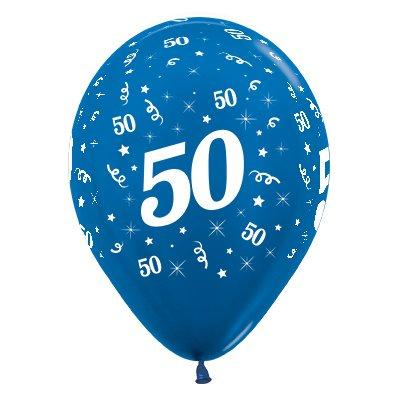 Sempertex 30cm Age 50 Metallic Blue Latex Balloons, 6PK