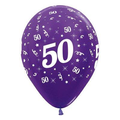 Sempertex 30cm Age 50 Metallic Purple Violet Latex Balloons, 6PK