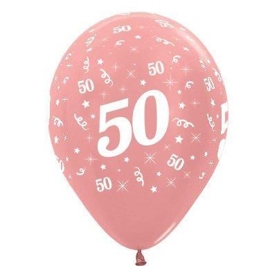 Sempertex 30cm Age 50 Metallic Rose Gold Latex Balloons, 6PK